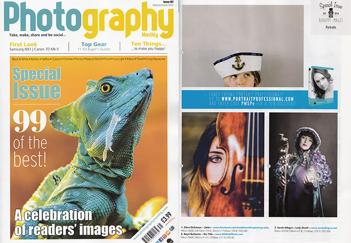 Photography Monthly 2014 magazine cover and inside spread